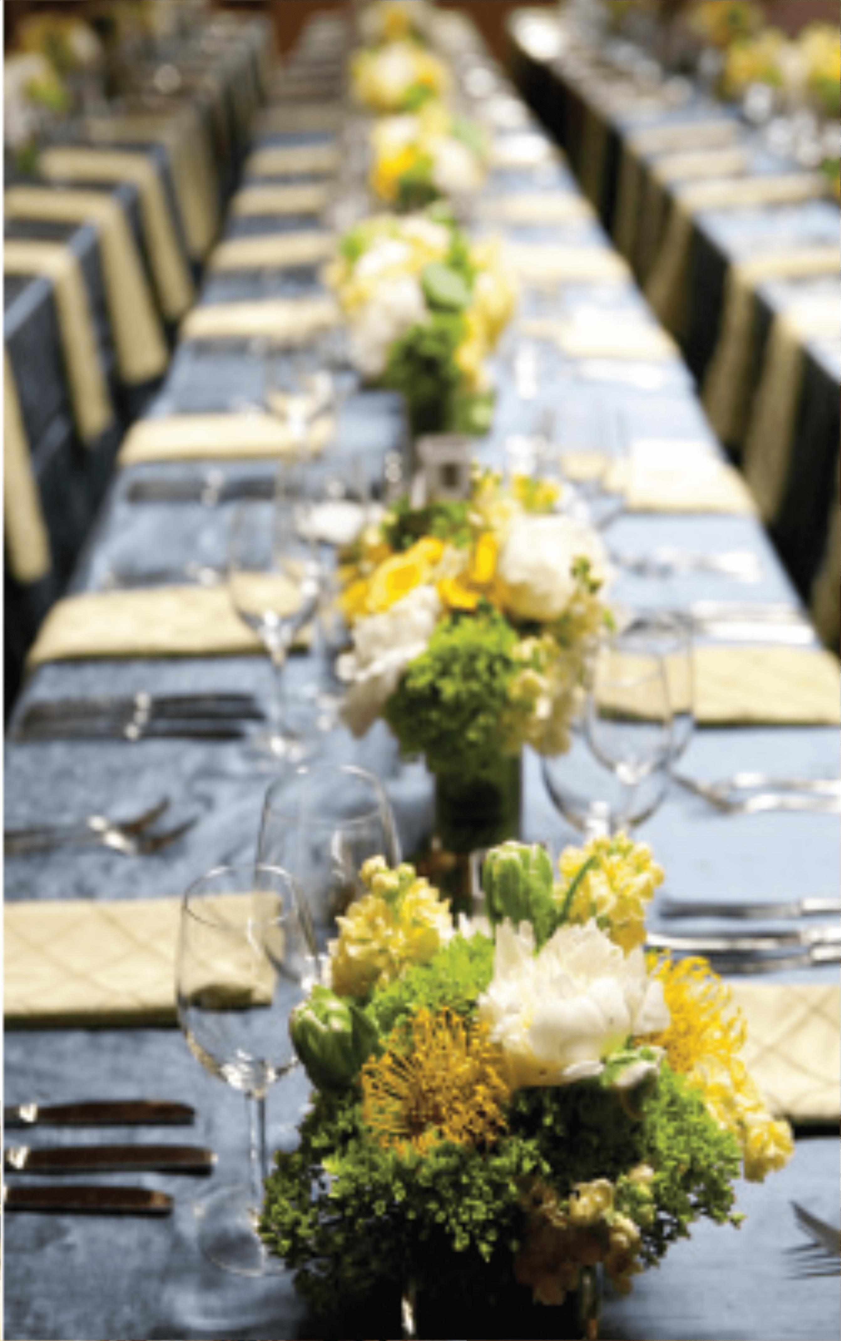 Green Yellow Table Centerpieces Rococo Floral Studio